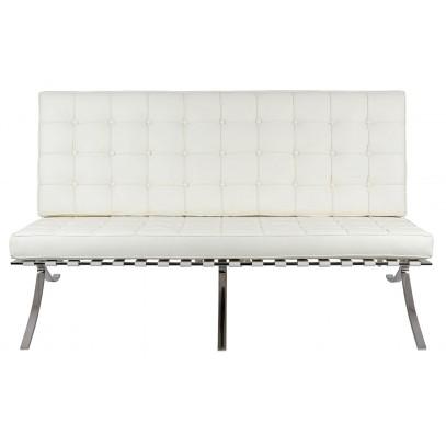Sofa dwuosobowa BARCELON PRESTIGE PLUS  biała - włoska skóra naturalna, stal