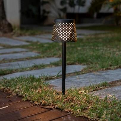 NEW GARDEN lampa ogrodowa GRETA SOLAR NEGRO 5in1 czarna - LED