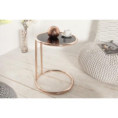 INVICTA stolik ART DECO miedziany - metal, szkło