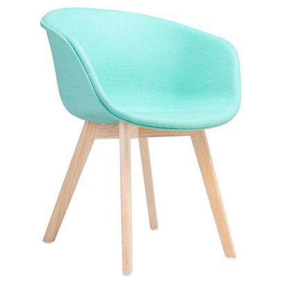 Fotel STAY SOFT miętowy - tkanina, podstawa bukowa