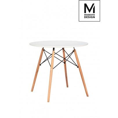 MODESTO stół DSW FI 90 biały - blat MDF, podstawa bukowa