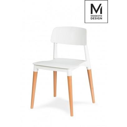 MODESTO krzesło ECCO białe - polipropylen, podstawa bukowa