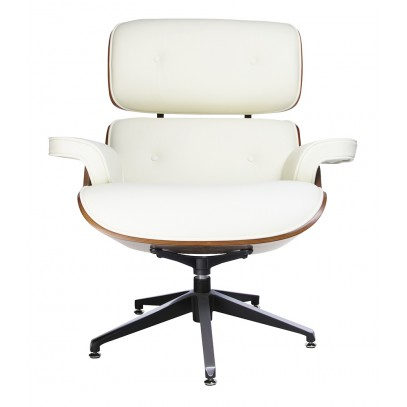 Fotel LOUNGE biały, sklejka orzech - skóra naturalna