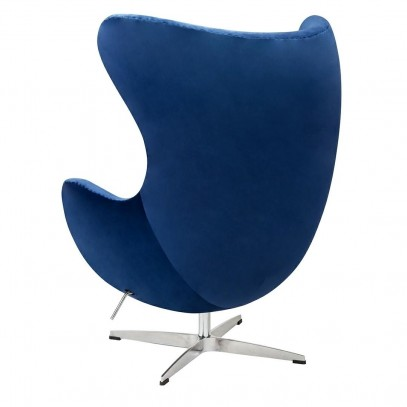 Fotel EGG CLASSIC VELVET granatowy - welur, podstawa aluminiowa