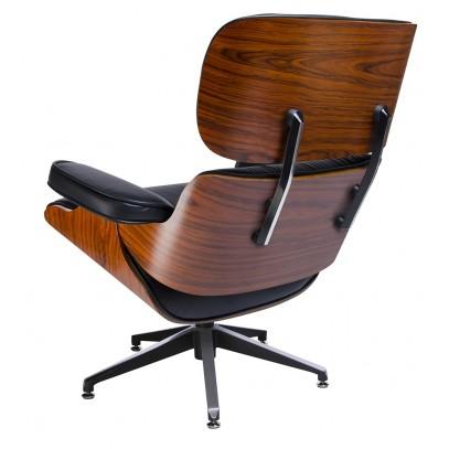 Fotel LOUNGE czarny z podnóżkiem  - skóra naturalna, sklejka różana