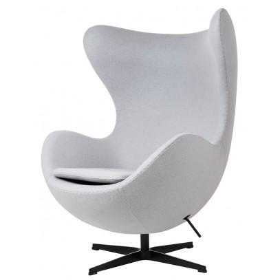 Fotel EGG CLASSIC BLACK szary  popielaty.18 - wełna, podstawa czarna