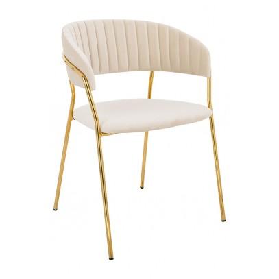 Krzesło MARGO beżowe - welur, podstawa złota