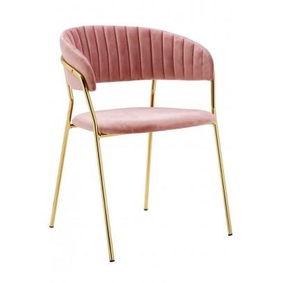 Krzesło MARGO brudny róż - welur, podstawa złota