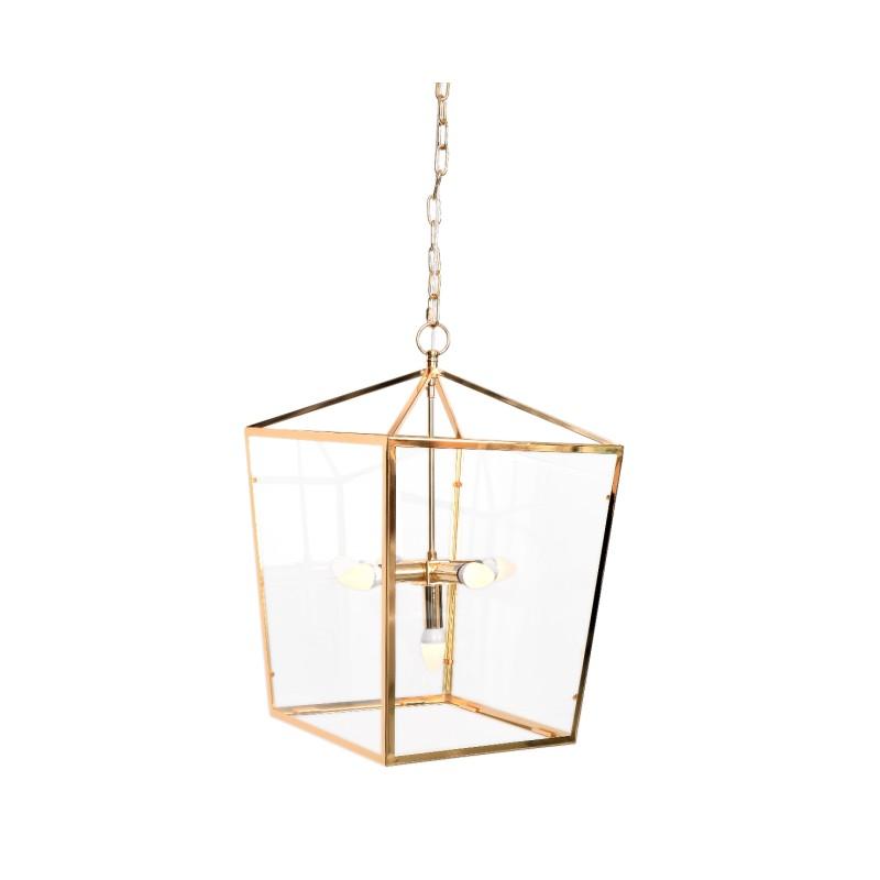 LAMPA WISZĄCA ALUMBRADO FRAME GOLD 41X41X61 CM METAL, SZKŁO, WYKOŃCZENIE ZŁOTE