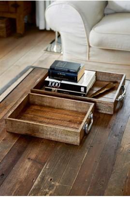 Taca Drewniana Zestaw / Suitcase Serving Tray S/2