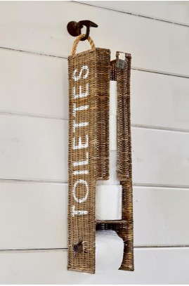 Kosz Na Papier / Rustic Rattan Toilet Roll Holder-1319