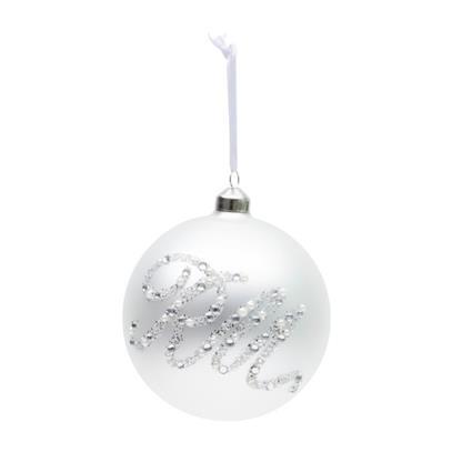 Bombka Glittering RM Ornament White 12 cm-3655