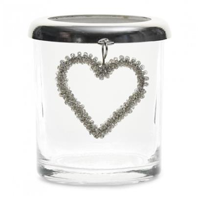 Lampion Na Tealight Beaded Heart Votive S -3824